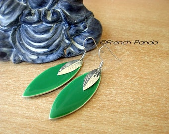 Pair of sterling silver enamel earrings green and silver