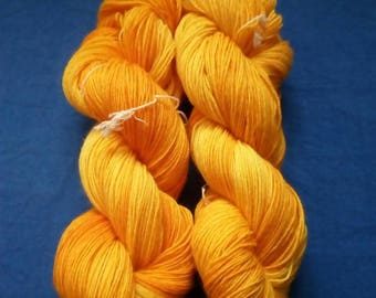 "100g strand hand dyed socks wool ""apricot yellow"""