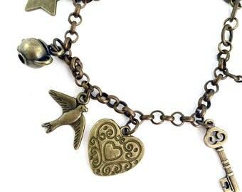 Steampunk Charm bracelet on bronze chain