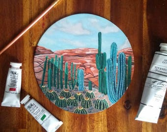 """Red Rock with Cactus Gouache Painting on 6"""" Wood Circle"""