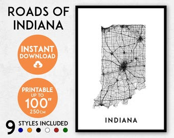 Indiana map print, Printable Indiana map art, Indiana print, USA map, Indiana art, Indiana poster, Indiana wall art, Indiana gift