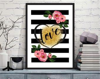 Love Printable wall art Digital Prints flowers and stripes