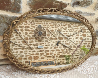 Vintage French Ornate Brass Wall Mirror