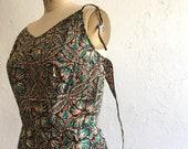 Milk chocolate & turquoise sundress * Vintage 1950s Surf 'N Sand summer dress * 50s sleeveless cotton dress
