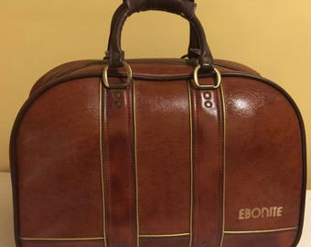 Vintage Ebonite  bowling bag 2 Ball Brown with Gold Trim is straight from the 80's.