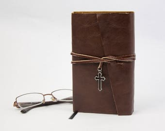 Small The Vampire Lestat by Anne Rice Rebound in Brown Leather with Cross Charm, Handmade Book