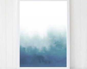 Modern Painting, Abstract Watercolor Print, Sea Print, Marine art, Blue Watercolor, Minimalist print, Wall Art, Scandi Decor, Large poster.