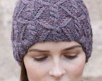 Extravagant hat with cables and lace pattern luxury glitter yarn and Tweed cap