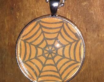 Spider Web Necklace - Pendant Necklace - Halloween Necklace - Orange Necklace