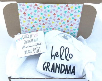 For Mom Pregnancy Announcement Gift For Her Box, For Mom,  Newborn Baby, Pregnant, Hello Grandma, Mothers Day Gift, Pregnancy Reveal,