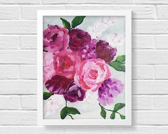 Bohemian Print, Floral Art Print, Flower Painting, Impressionist Art, Gifts for Her, Modern Decor, Boho Decor, Birthday Gift, Peony Painting