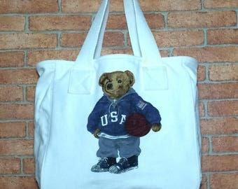 Rare!!! Vintage 90's POLO BEAR Ralph Lauren Tote Bag Vtg Polo Sport Bag White Colour