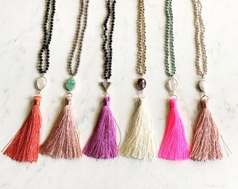 Gemstone Tassel Necklace // boho layering necklace // quartz amethyst druzy turquoise // sunandmoonstone