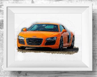 Audi Sports Car Printable Poster Art Orange, AUDI car Illustration, Design Car Print, AUDI printable, Art Print Audi Car Printable Poster