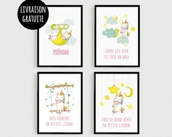 PROMO: Set of 4 posters quotes Scandinavian unicorns pele mele in a baby room