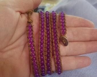 3 Wrap Beaded Bracelet / Purple / Chan Luu Look / Boho