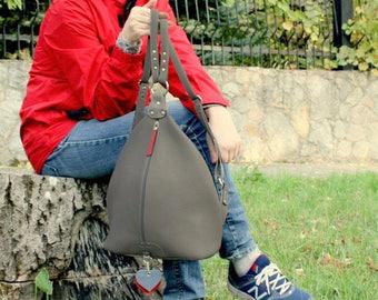 Gray leather backpack purse minimalist gray leather rucksack Leather Shoulder Bag college knapsack backpack