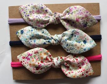 Petite Garden Knot Bow Headband Trio - Nylon Headband - Baby Headband - Girl Headband - One Size Fits All Headband