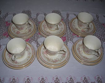 Royal Doulton Romance Collection Lisette English Fine Bone China set of 6 trios of cups saucers and plates