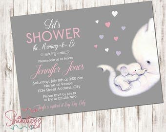 Elephant Baby Shower Invitation - Baby Shower Invitation - Elephant Invite - Elephant Baby Shower