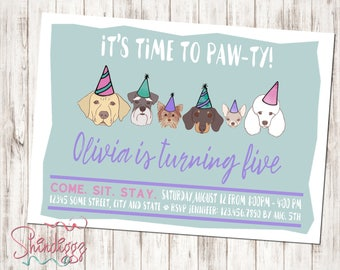 Puppy Dog Birthday Invitation, Puppy Dog BIrthday Party, Puppy Dog Invitations, Puppy Dog theme