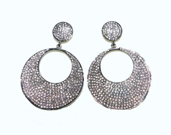 Zircon Fancy Sterling Silver Round Earring