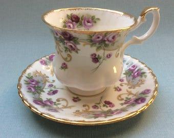 Royal Albert tea cup and saucer 'Lavinia' Sheraton Series, Floral tea cup, English tea cup, English porcelain, montrose shape