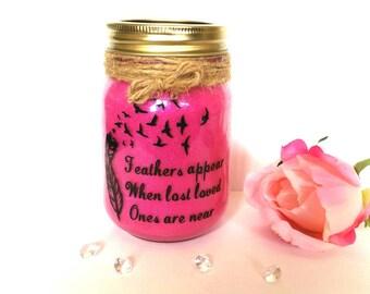 Feathers appear memorial Mason jar, pet memorial, Rememberence sympathy gift, infant loss, angel baby, guardian angel, pet loss