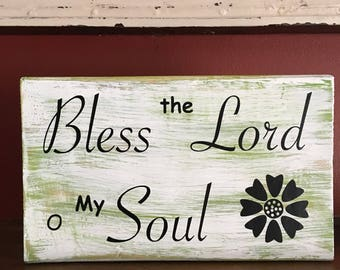 Handmade Bless the Lord Chunky Wall Hanging Sign