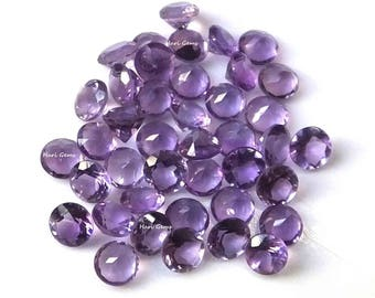 10 Pieces 3mm Amethyst Faceted Round Purple Color AAA Qualitye - Wholesale Natural Amethyst Round Faceted Loose Gemstone Calibrated Size