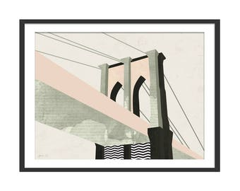 Brooklyn Bridge Art Print by Green Lili. New York Art Print. Brooklyn Bridge Print.  Wall Art. NYC  Gift Landmarks Gift. Wall Decor.
