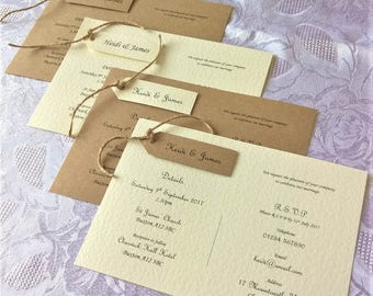 Hand Crafted Personalised 'Amelia' Wedding Invitation Sample Rustic Vintage Twine