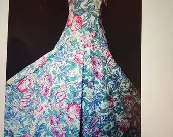 Vintage Laura Ashley 80s birds and roses summer ballgown/maxi dress UK size 12 (label states 16)