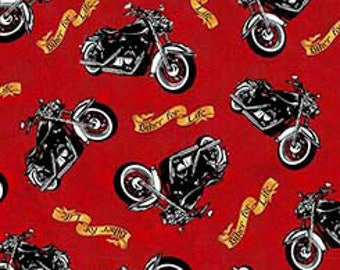 Bikers For Life,allover on red,Quilting Treasures