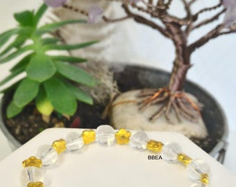 Bracelet rock crystal beads, 8 mm and separations of Tibet silver gold stars