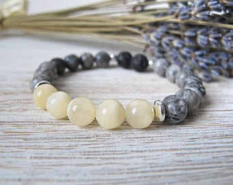 Essential Oil Diffuser Bracelet, Aromatherapy Jewelry, THE CATHERINE, Gift for Her, Stretch Bracelet, Diffuser Jewelry, FoxAndBearEssentials