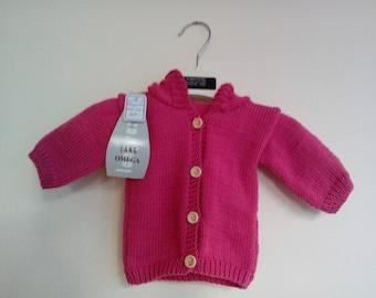HOT pink Cardigan sleeves and hood birth
