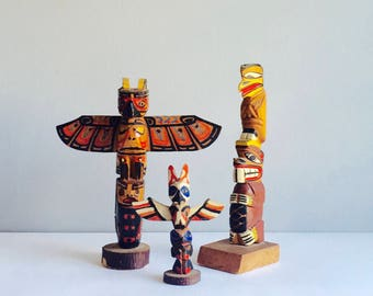 SALE Wooden Totem Pole vintage antique hand painted carved Native American Figurines X3 Haida interest