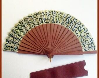Quality fan, animal print hand painted fan, hand fan with leather case, gift mother in law, hand fan for wedding, wooden folding fan, fans.