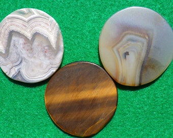 Agate and Tiger Eye set of three golf ball markers