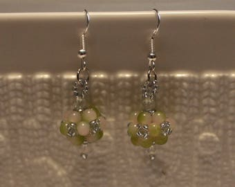 Cute  Czech crystal-beaded earrings in beautiful colors; handmade, beadweaving, dangle & drop, beautiful, casual-wear, party-wear