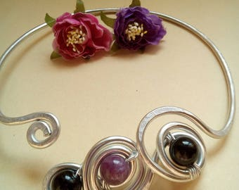 Purple and Black colored stones with rigid necklace