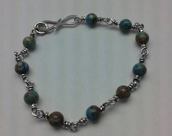 Agate and sterling silver rosary link bracelet.