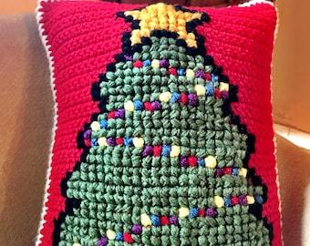 Christmas Tree Pillow, Crochet Christmas Pillow