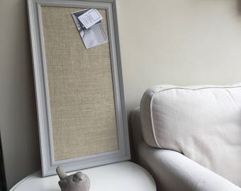 Large hessian pin board. Hessian bulletin board. Hessian memo board Hessian message board Grey pin board Grey cork board Fabric notice board