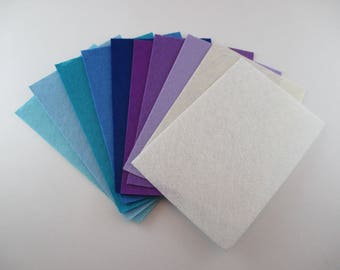 10 coupons from felt, different colors, 1 mm thick, 10 x 15 cm.