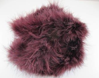 Round braid, faux fur, Plum, Burgundy color, length 2 m.