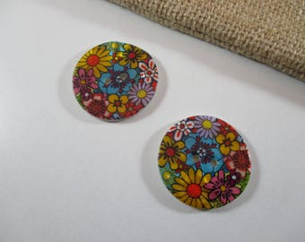 Round buttons, Pearl, pattern flowers, multicoloured.