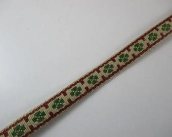 Braid, strap, fantasy, vintage, color beige, Burgundy and green, 12 mm wide.