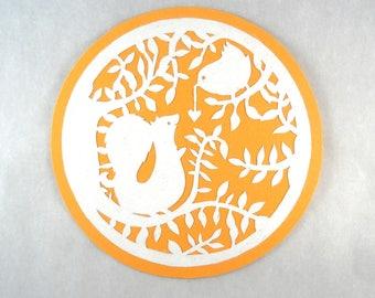 Round orange white papercutting bird foliage squirrel card